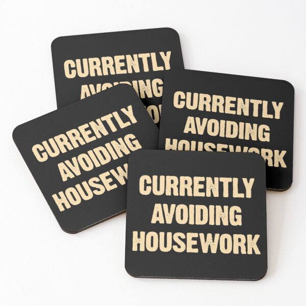 Currently Avoiding Housework Funny Mom Vintage Saying Gift Coasters (Set of 4)