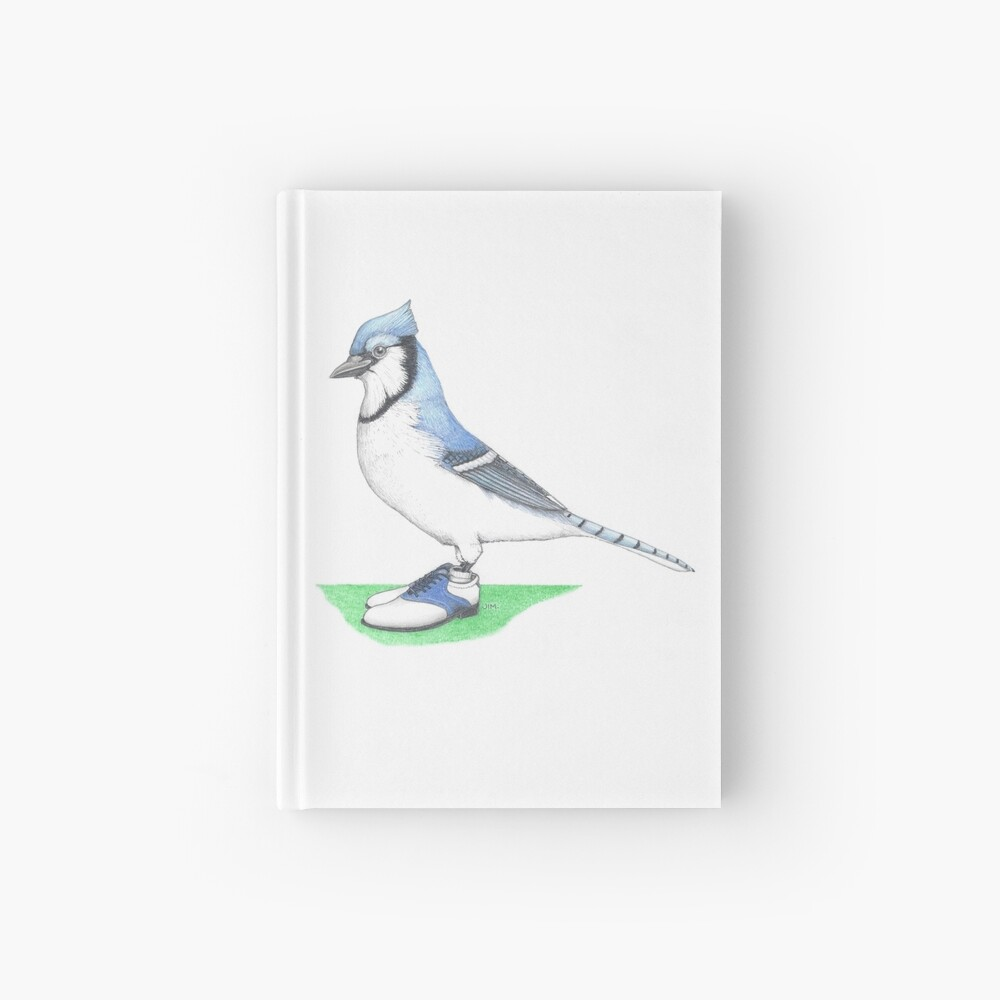 Blue jay in golf shoes Hardcover Journal