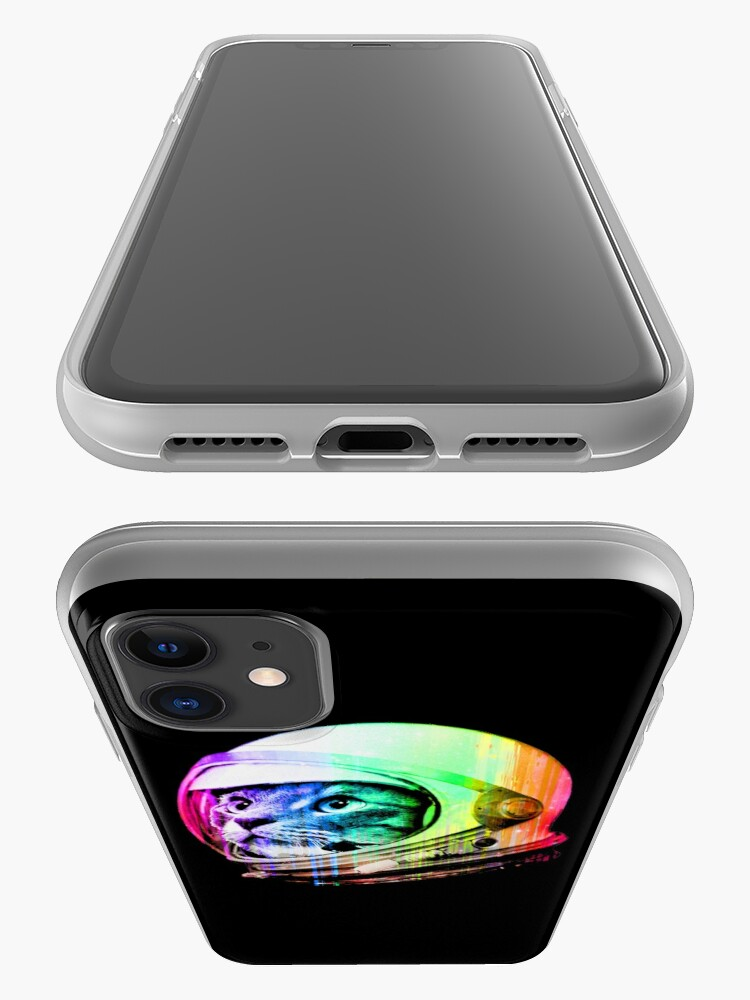 Alternate view of Astronaut Space Cat (digital rainbow version) iPhone Case & Cover
