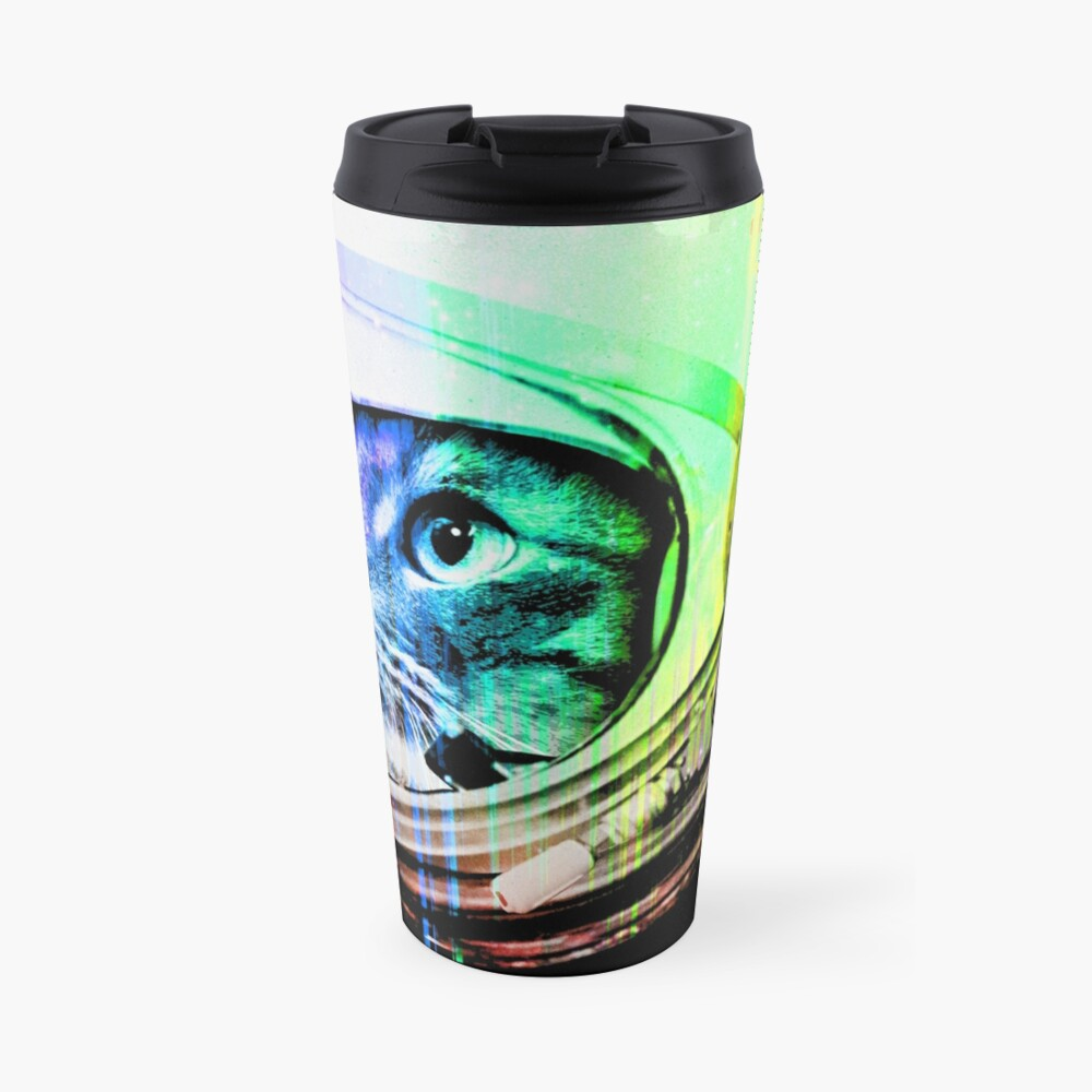 Astronaut Space Cat (digital rainbow version) Travel Mug