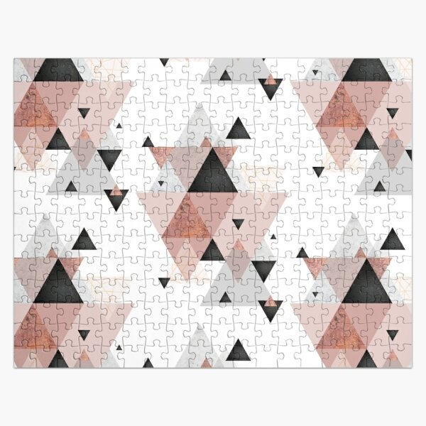 Geometric Compilation in Rose Gold and Blush Pink Jigsaw Puzzle