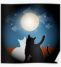 dreaming cats on a roof Poster