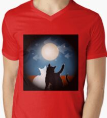 dreaming cats on a roof Mens V-Neck T-Shirt
