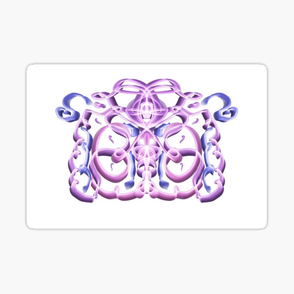 Pink and Blue Neon Ribbon Nights Sticker