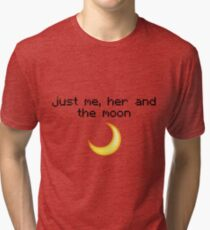 Just me, her and the moon Emoji Design  Tri-blend T-Shirt