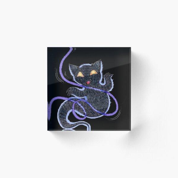 Feline Apparition: Yarn Possession Acrylic Block