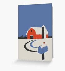Colorful Barn and Silo Peaceful Winter Scene Greeting Card