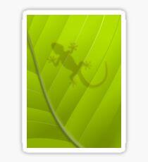 Gecko silhouette on a green leaf Sticker