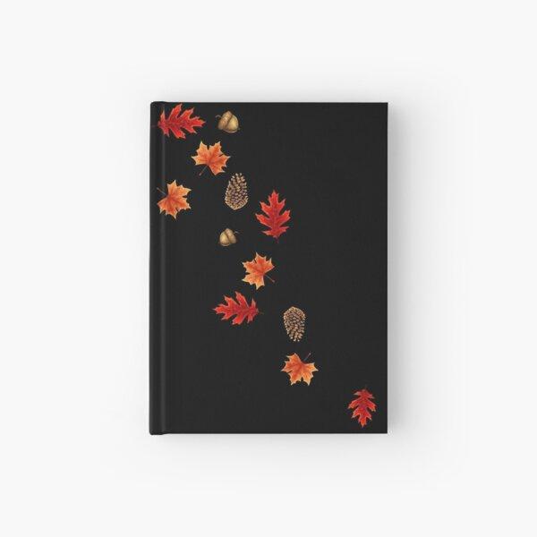 Autumn Leaves on Black Hardcover Journal
