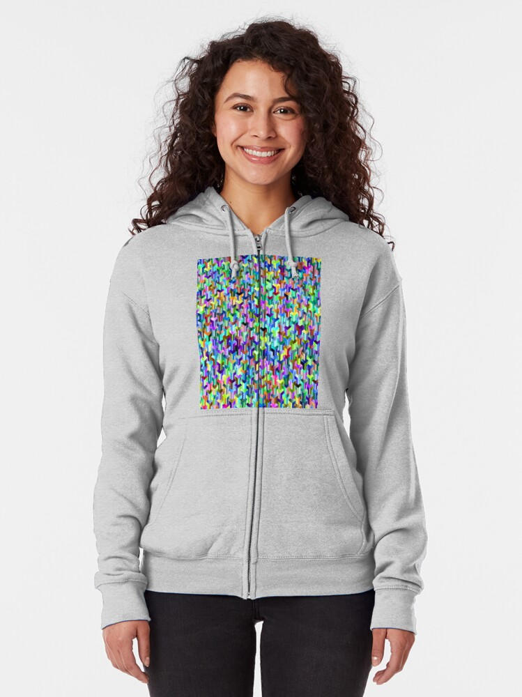 Alternate view of Visual Psychedelic Art, Easy Optical ILLusion Tessellation Zipped Hoodie