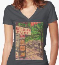 belgian fries Women's Fitted V-Neck T-Shirt