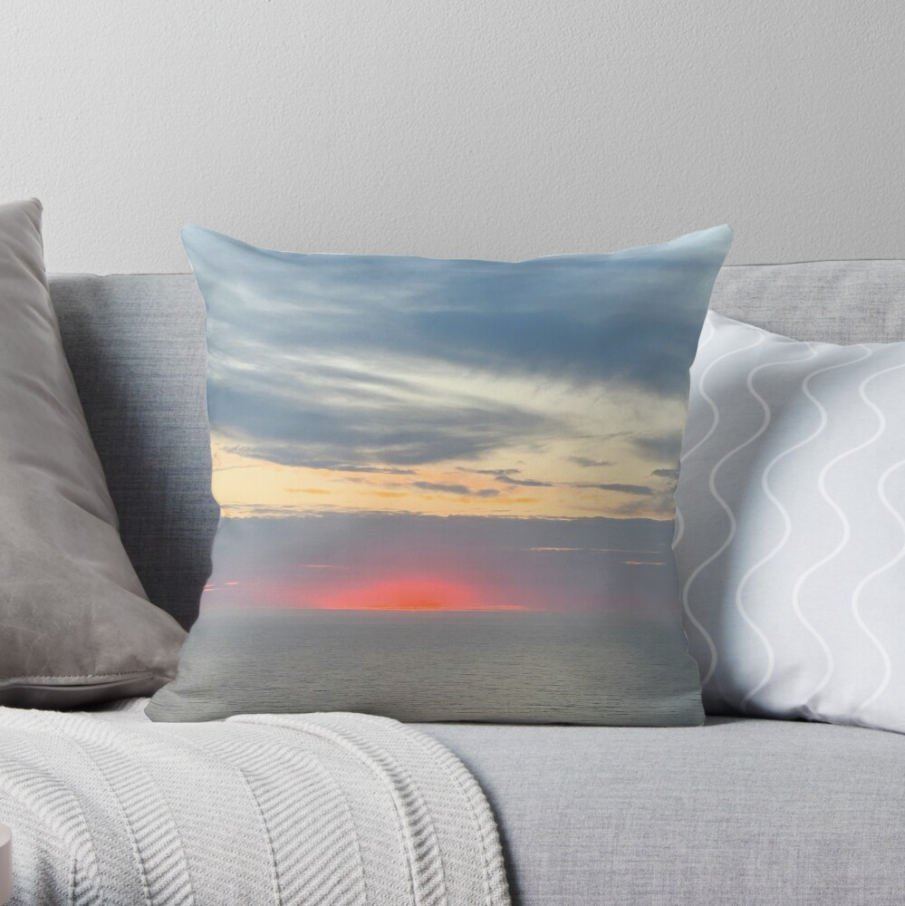 Red Sunset Beautiful Sky Over Pacific Ocean, Daly City, California by Christie Olstad Throw Pillow