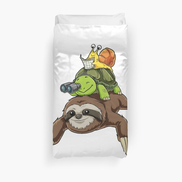 Sloth Turtle Snail Funny Sloth Running Duvet Cover