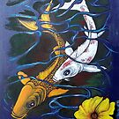 Koi Fish Painting With Acrylic by Roger Hodkinson