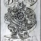 Dia De Los Muertos - Day Of The Dead - Burnt into Skateboard Deck by Roger Hodkinson