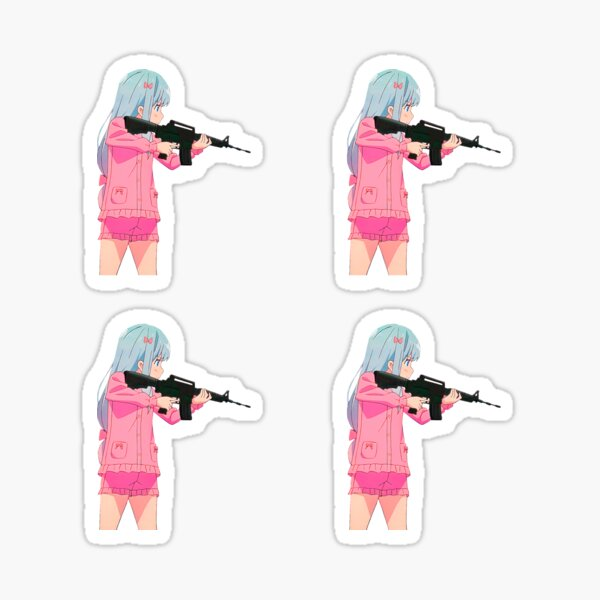 Armed cutie anime girl Sagiri Izumi with a gun. Dangerous girl Eromanga Sensei armed with M16 carbine assault rifle. | White background Sticker