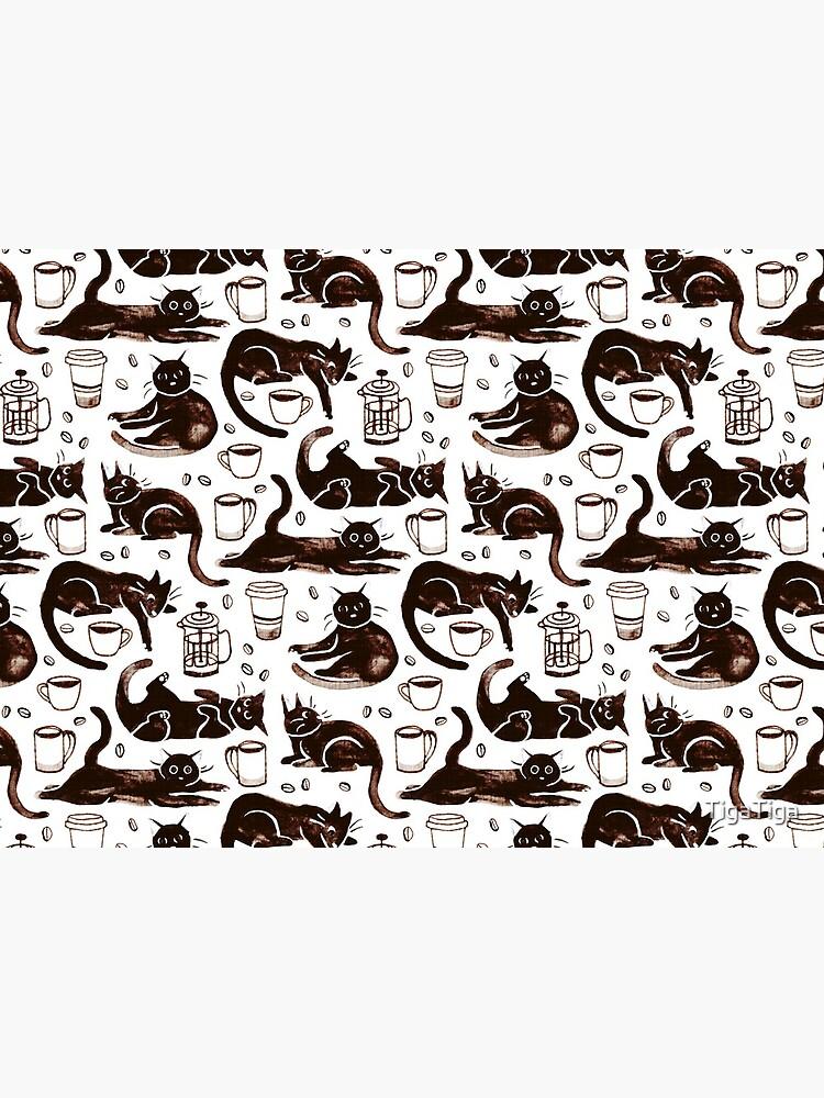 Gouache Black Cats & Coffee by TigaTiga