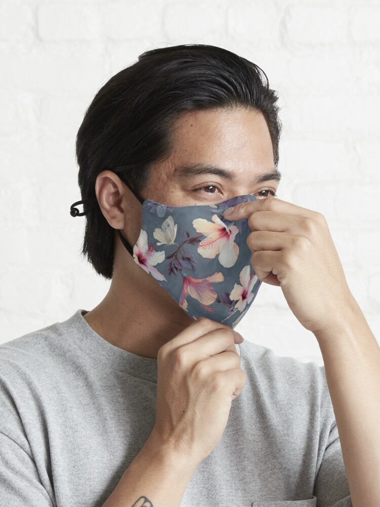 Alternate view of Butterflies and Hibiscus Flowers - a painted pattern Mask