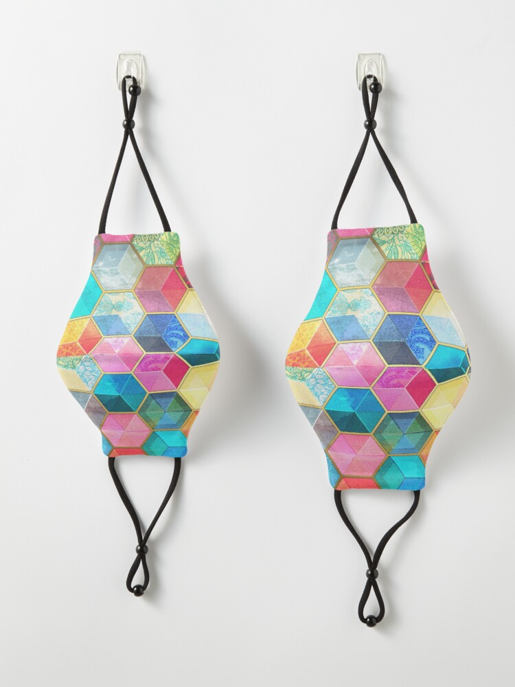 Alternate view of Crystal Bohemian Honeycomb Cubes - colorful hexagon pattern Mask