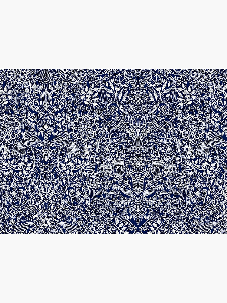 Detailed Floral Pattern in White on Navy by micklyn