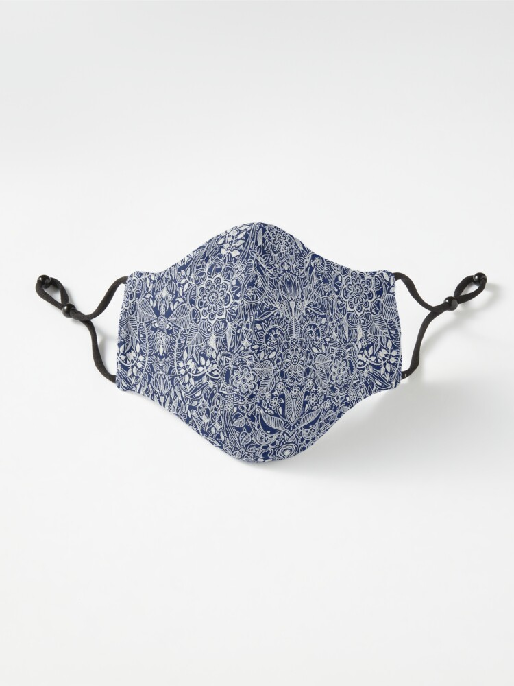 Alternate view of Detailed Floral Pattern in White on Navy Mask