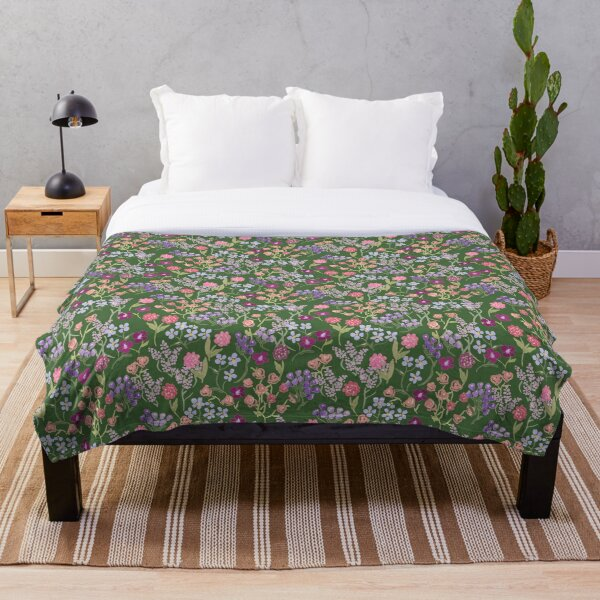 Imaginary Garden in Green by Tea with Xanthe Throw Blanket