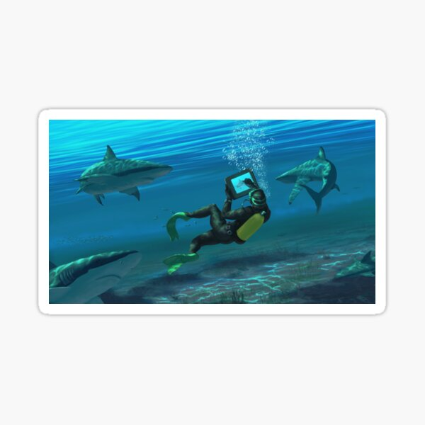 Swim and draw with sharks Sticker