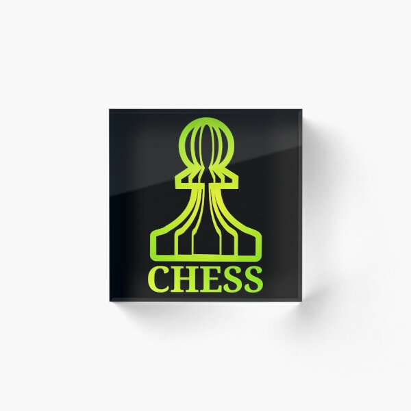 Chess Pawn Neon Green Yellow (with text) Acrylic Block