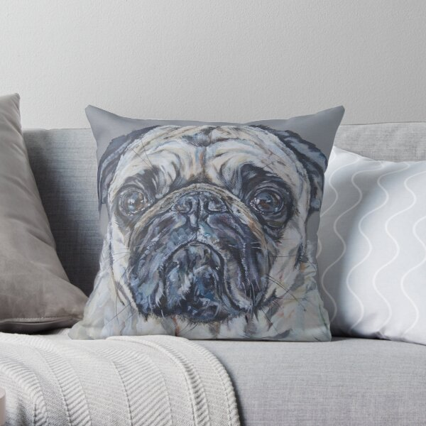 Pug Hug. Pug dog painting art by award-winning UK artist Sam Fenner Throw Pillow