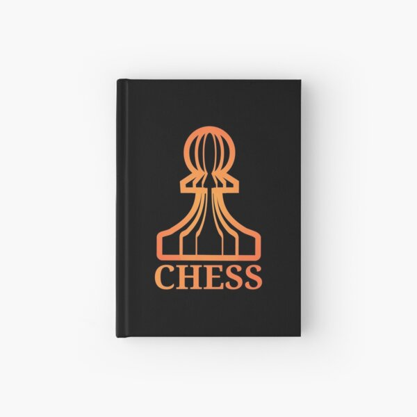 Chess Pawn Orange Red (with text) Hardcover Journal
