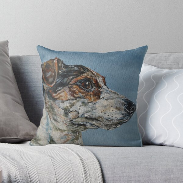 Jack. Jack Russell Terrier dog painting art by award-winning UK artist Sam Fenner Throw Pillow
