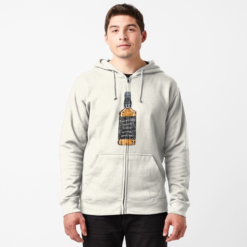 Everybody Seems Hotter on the Internet (Black) Zipped Hoodie