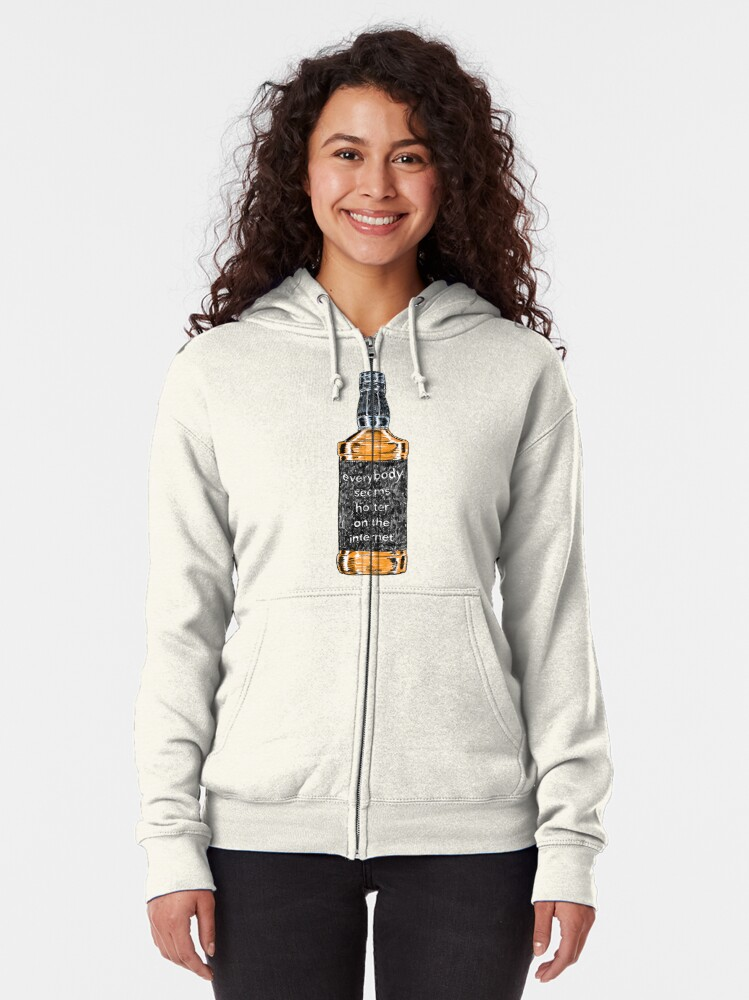 Alternate view of Everybody Seems Hotter on the Internet (Black) Zipped Hoodie