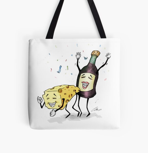 Cheese & Whine Party All Over Print Tote Bag