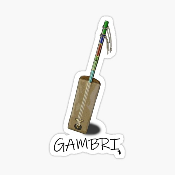 outils de musique (gambri): GNAWA ART, culture marocaine Sticker