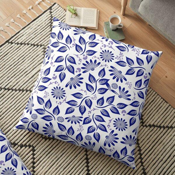 Brilliant in Blue Floor Pillow