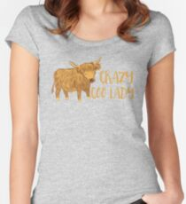 Crazy Coo (HIGHLAND COW) Lady Women's Fitted Scoop T-Shirt
