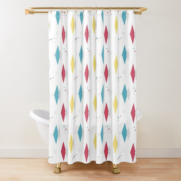 Splendette Mid Century Diamonds Primary White Shower Curtain