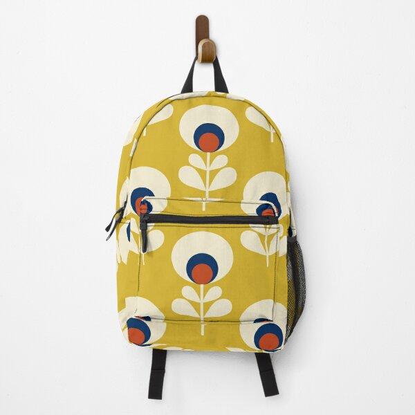Retro spring flower pattern - mustard yellow Backpack