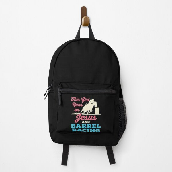 This Girl Runs on Jesus and Barrel Racing Backpack