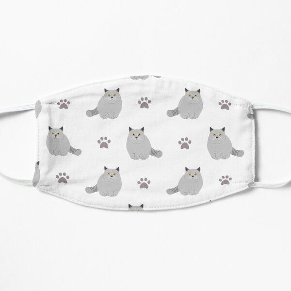 British Shorthair Cat and Paw Print Flat Mask