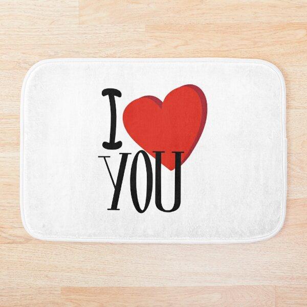 Elegant design with a romantic phrases I Love You Bath Mat