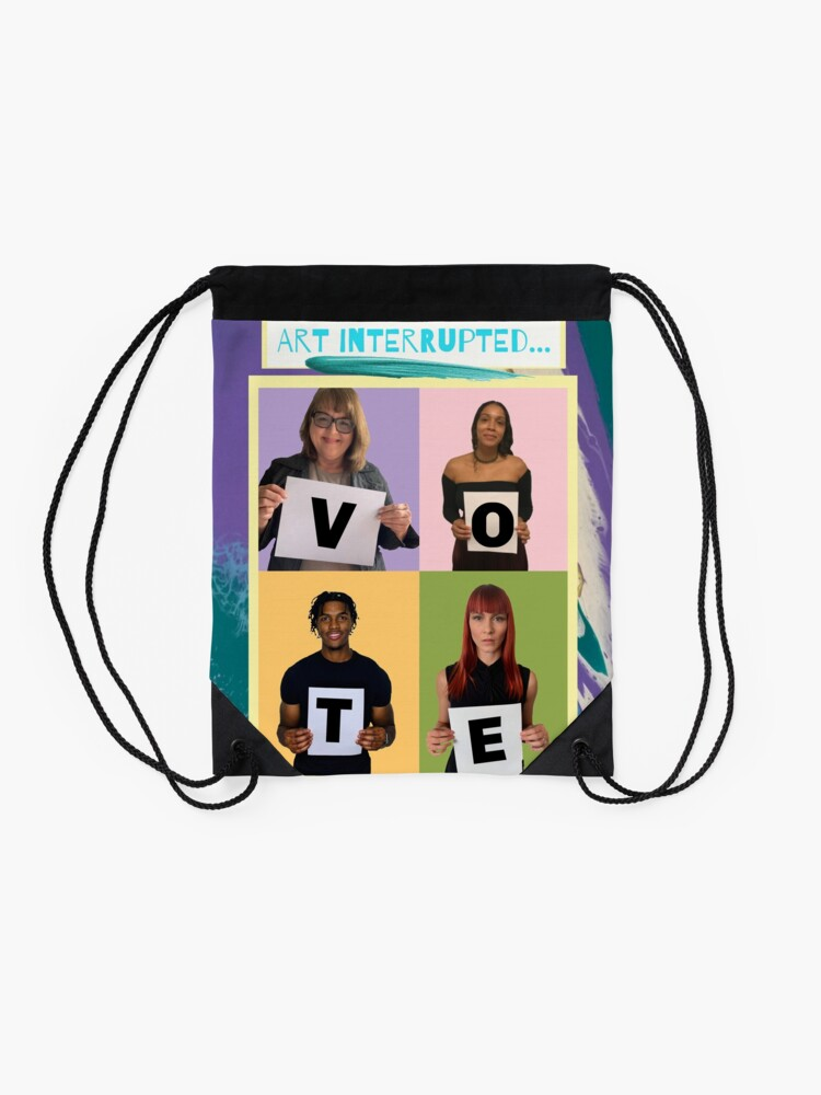 """Alternate view of Abstract & Graphic Design- """"Art Interrupted: VOTE!""""- digital print Drawstring Bag"""