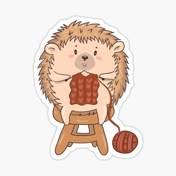 Cute Hedgehog Knits Sticker