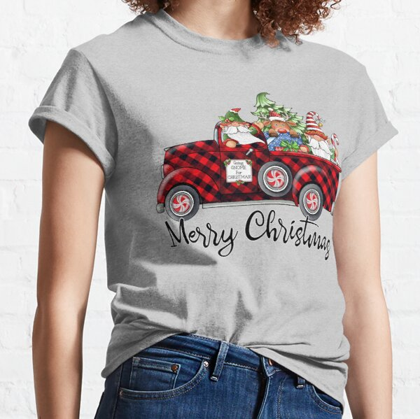 Christmas Gnome in Buffalo Plaid Pick-Up Truck Classic T-Shirt