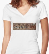 Word Storm with vintage writing on brick wall  Women's Fitted V-Neck T-Shirt