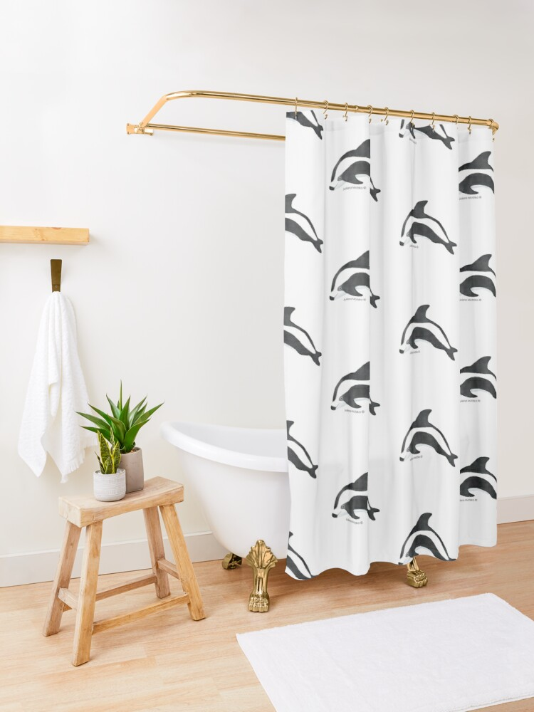 Alternate view of Hourglass Dolphin Shower Curtain