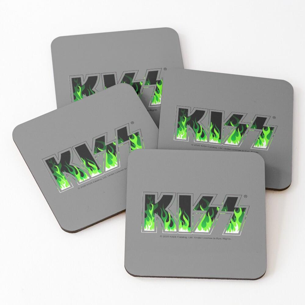 KISS Green Fire Coasters (Set of 4)