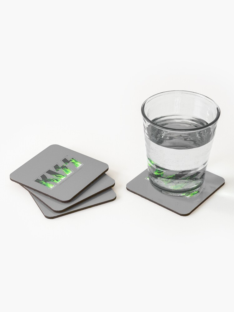 Alternate view of KISS Green Fire Coasters (Set of 4)