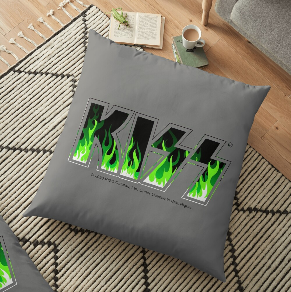KISS Green Fire Floor Pillow